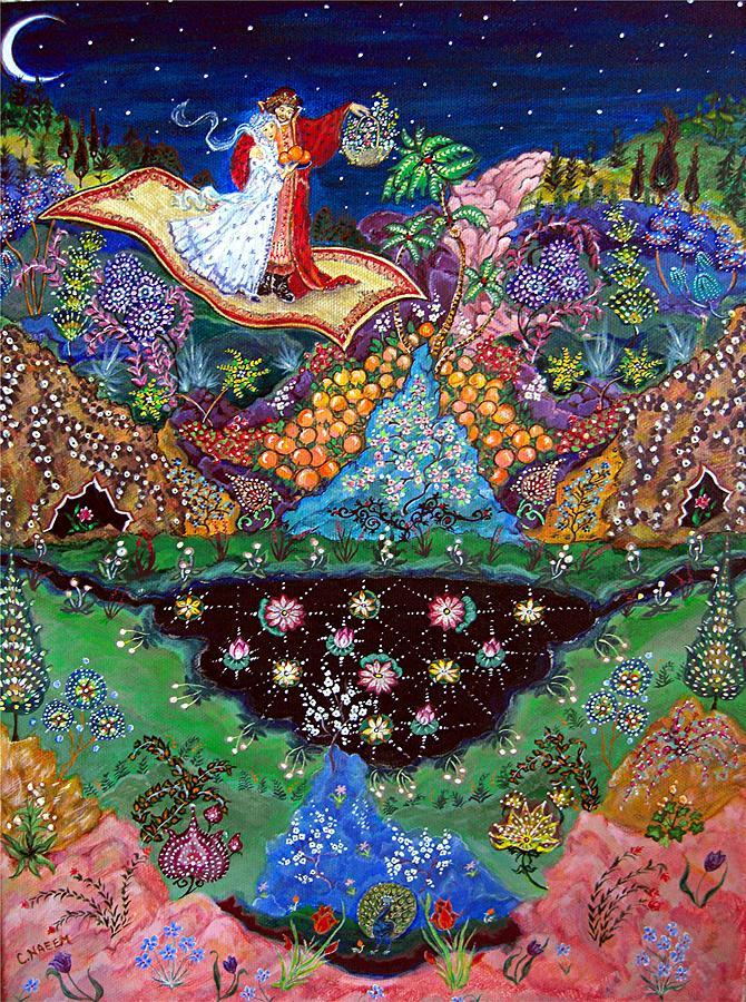 Night Painting - Night On The Magic Carpet by Caroline  Urbania Naeem