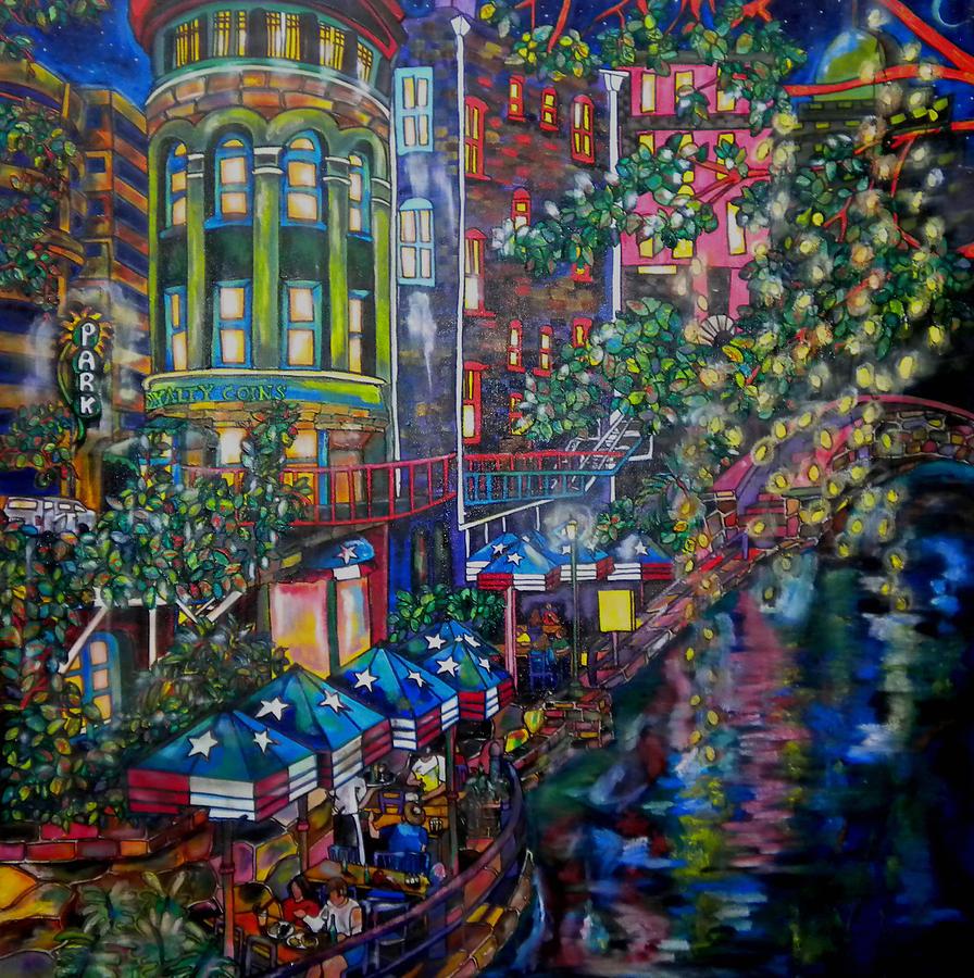 Riverwalk Painting - Night On The River by Patti Schermerhorn