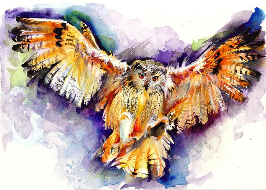 Night Owl Watercolor, Hunting Owl, Flying Brown Owl Painting
