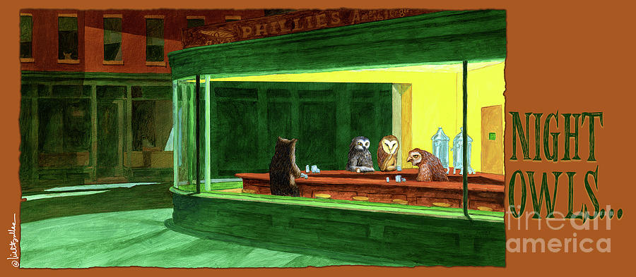 Owls Painting - Night Owls... by Will Bullas