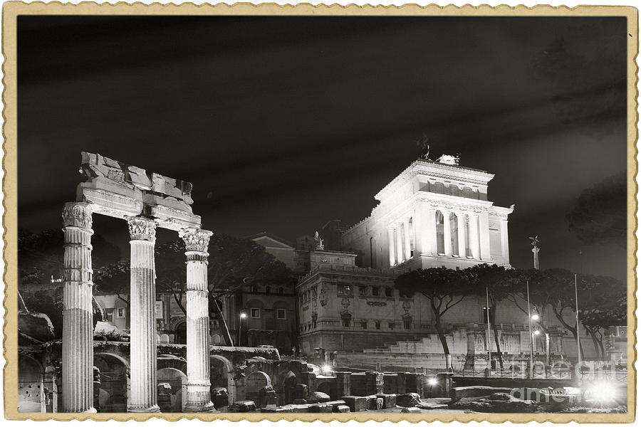 Forum Rome Photograph - Night Panorama In Rome by Stefano Senise