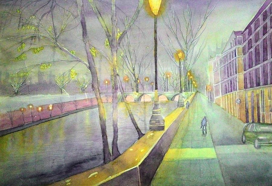 Cityscape Painting - Night Paris Street   by Stanley Sum wai lee