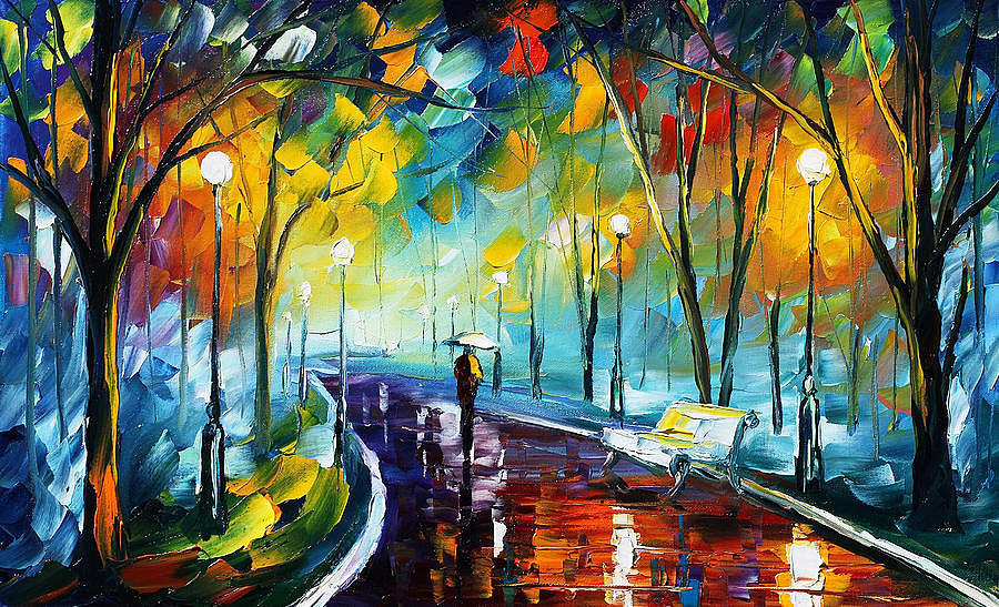 Night Park 3 Palette Knife Oil Painting On Canvas By