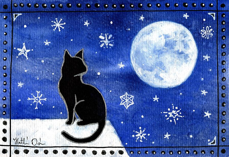 Black Cat Painting - Night Patrol At Wintertime by Dora Hathazi Mendes