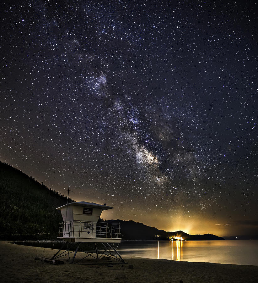 Astrophotography Photograph - Night Patrol Lake Tahoe by Tony Fuentes