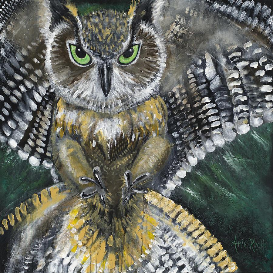 Owl Painting - Night Prey by Amie Kroll