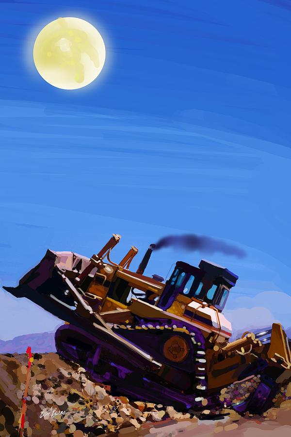 Bulldozers Painting - Night Push by Brad Burns