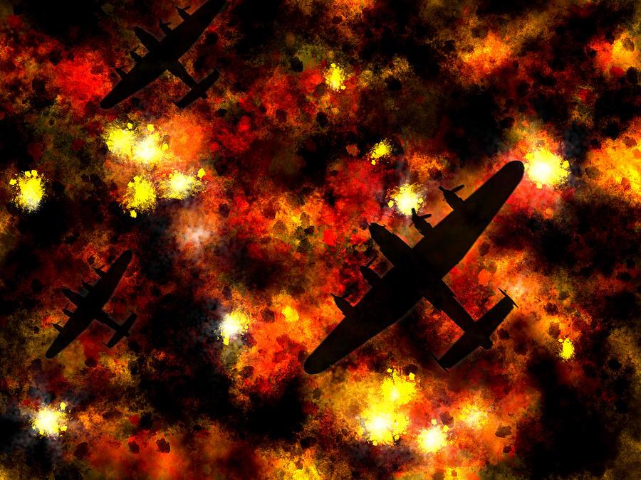 Lancaster Bomber Digital Art - Night Raid - Lancaster Bomber by Michael Tompsett