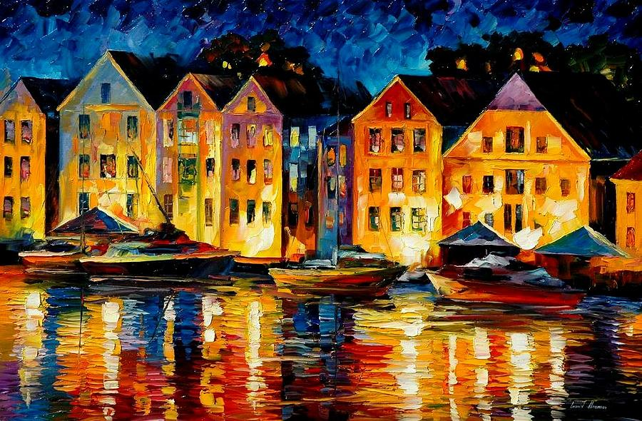 City Painting - Night Resting Original Oil Painting  by Leonid Afremov