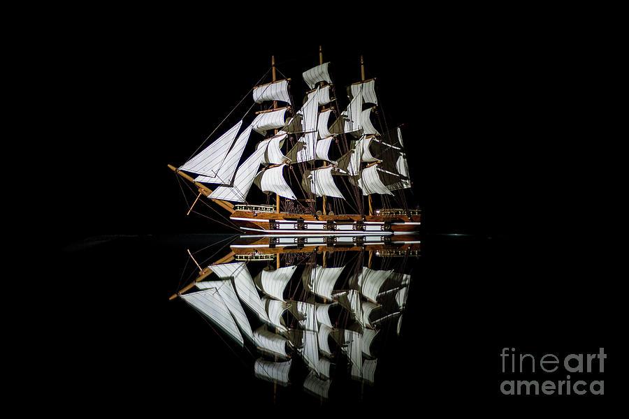 Canon Photograph - Night Sail by Caroline Jeanine