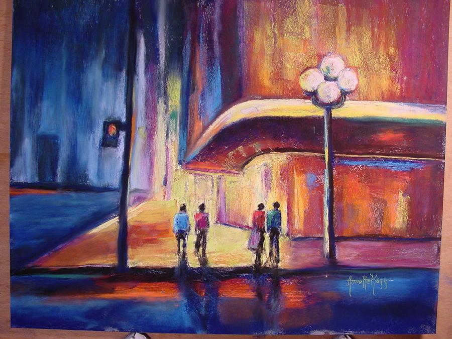 Night Scene Pastel - Night Scene by Annette Kagy