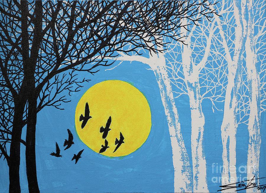 Landscape Painting - Night Scene by Sein Gyi
