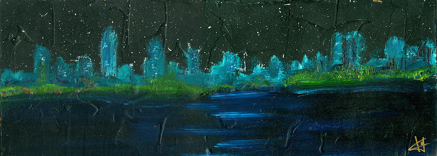 Coast Line Painting - Night Shore by Jorge Delara