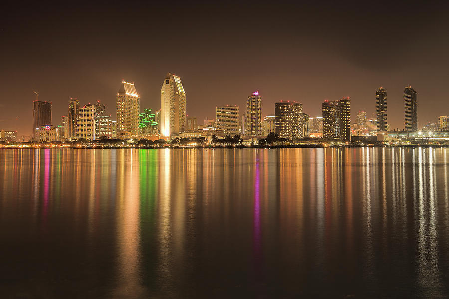 Night Skyline Of San Diego Downtown Photograph By Michelle Choi