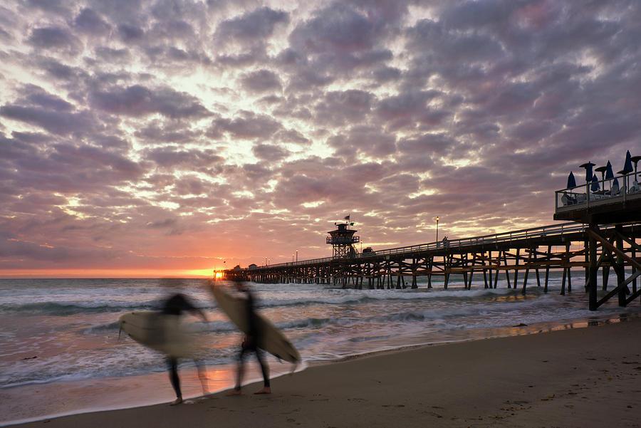 San Clemente Photograph - Night Surfing by Gary Zuercher