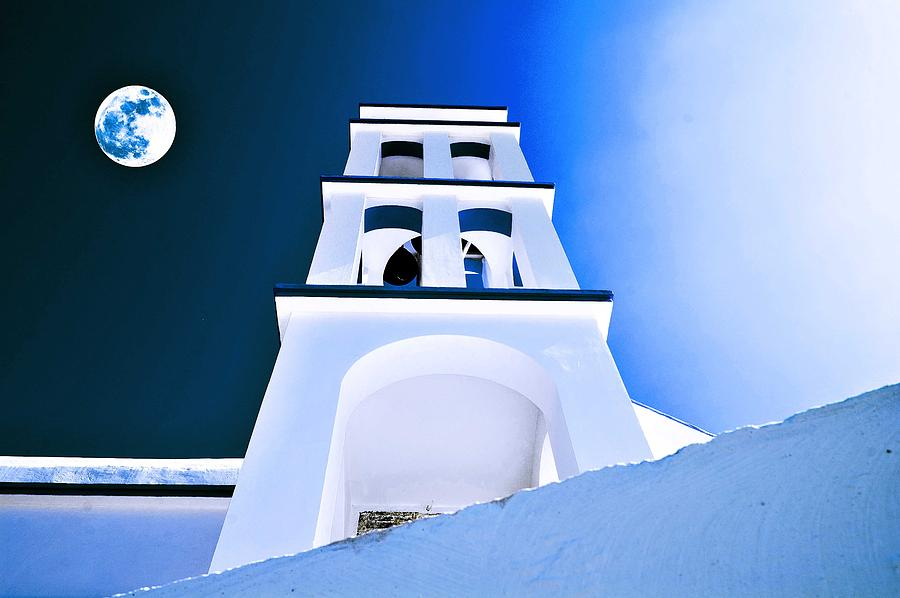 Nature Painting - Night Taking Over The Day Of Church In Greece Crete 2 by Celestial Images