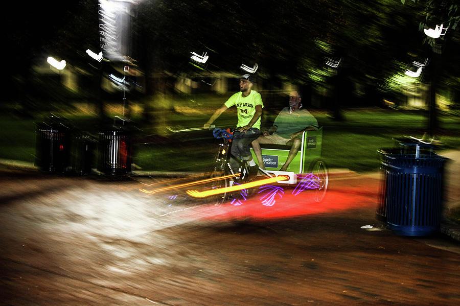 Night-time Bike Ride-long Exposure Photograph