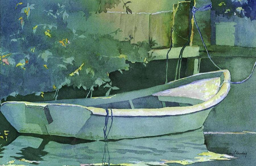 Boats Painting - Night time on Boot Key by Mary Blumberg