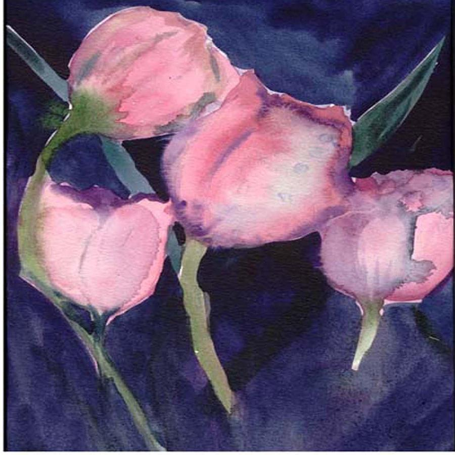 Tulips Painting - Night Tulips by Janet Doggett