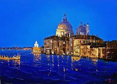 Grand Canal Painting - Night Venice by Dmitry Slezin