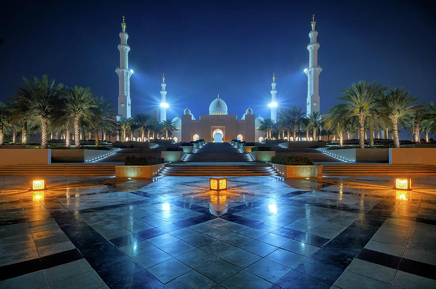 Islam Photograph - Night View At Sheikh Zayed Grand Mosque, Abu Dhabi, United Arab Emirates by Marek Kijevsky
