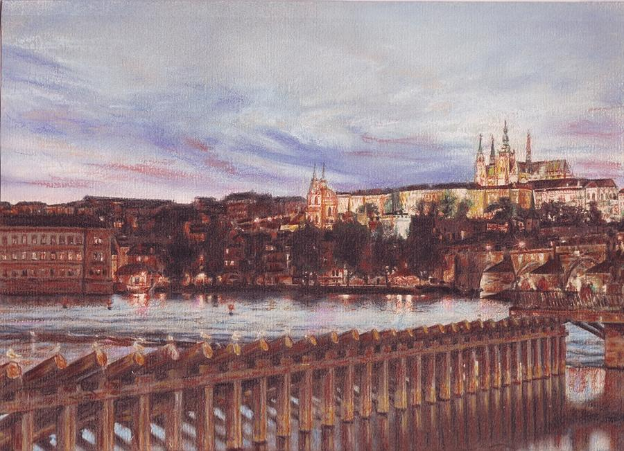 Night View Of Charles Bridge And Prague Castle Painting by Gordana Dokic Segedin