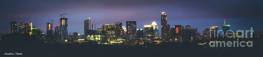 Austin Photograph - Night View Of Downtown Skyline In Winter by PorqueNo Studios