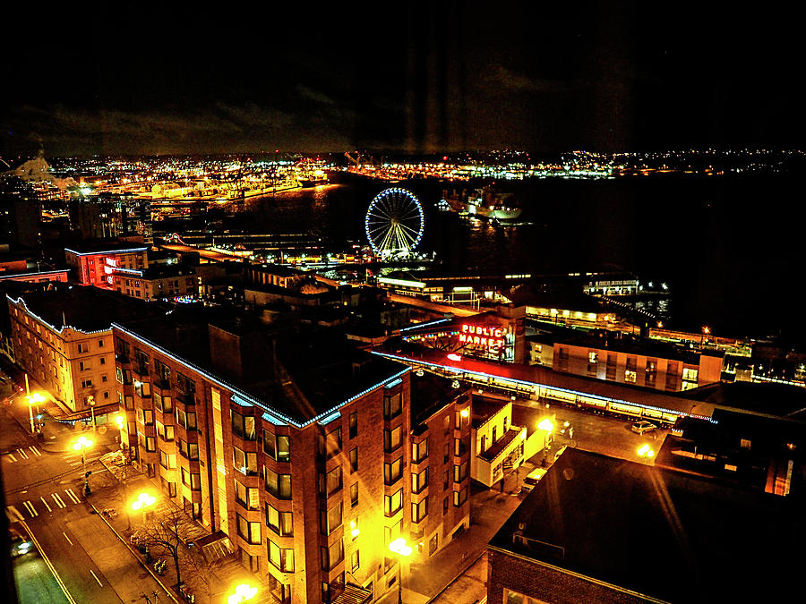 Night View Of Seattle Waterfront Photograph