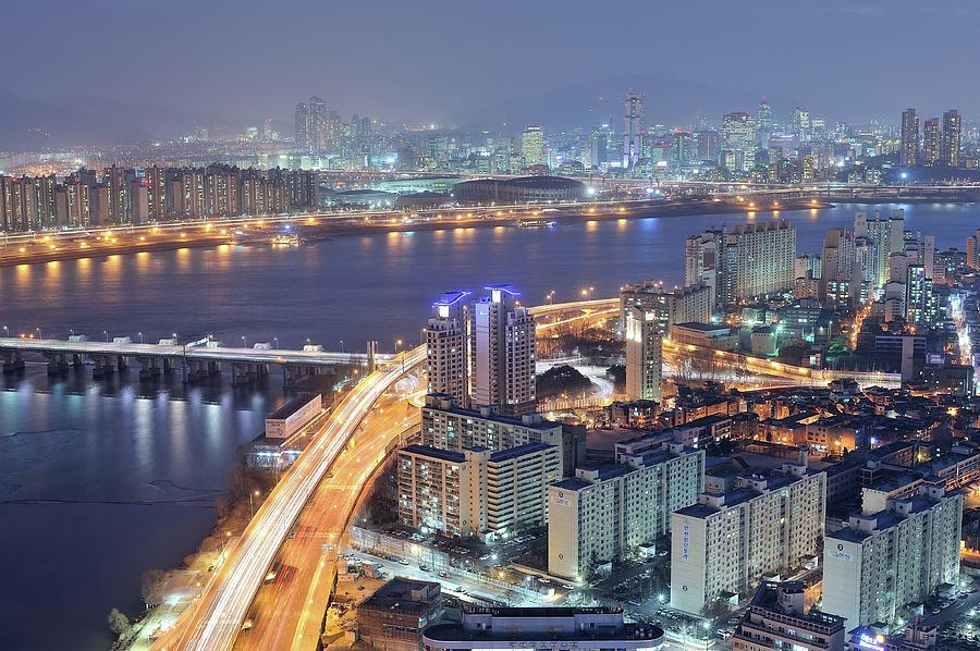 Horizontal Photograph - Night View Of Seoul by Tokism
