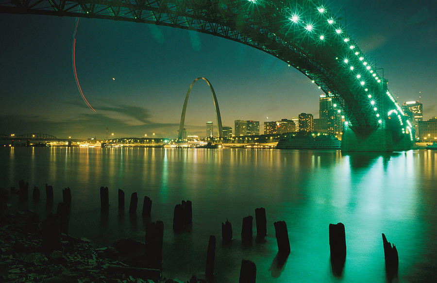 Night View Of St Louis, Mo Photograph by Michael S Lewis