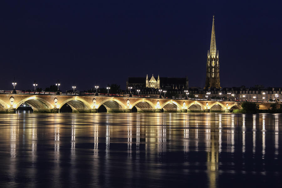 Ancient Photograph - Night view of The Pont de pierre Bordeaux, France by Freepassenger By Ozzy CG