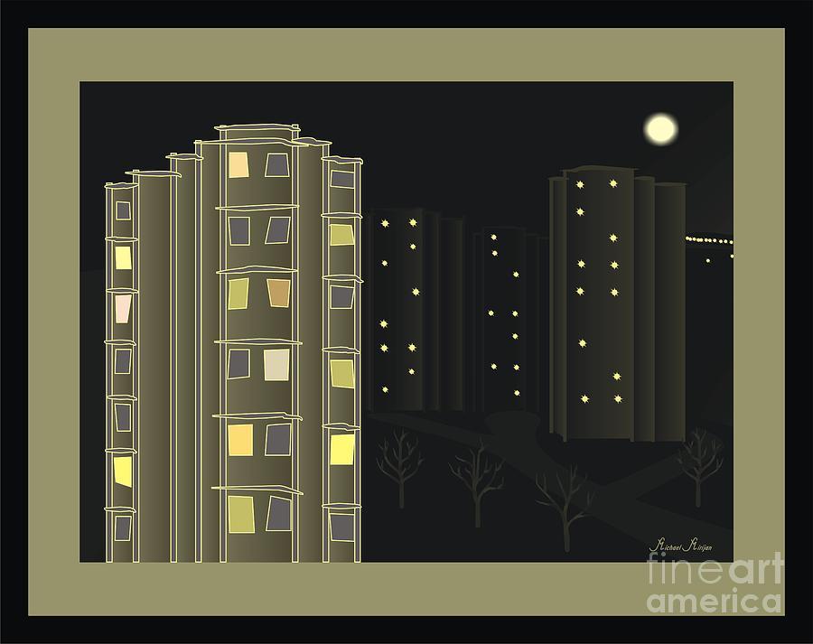 Abstract Mixed Media - Night View - When I Smoke by Michael Mirijan