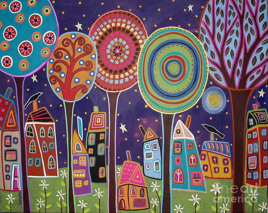 Karla Gerard Painting - Night Village by Karla Gerard