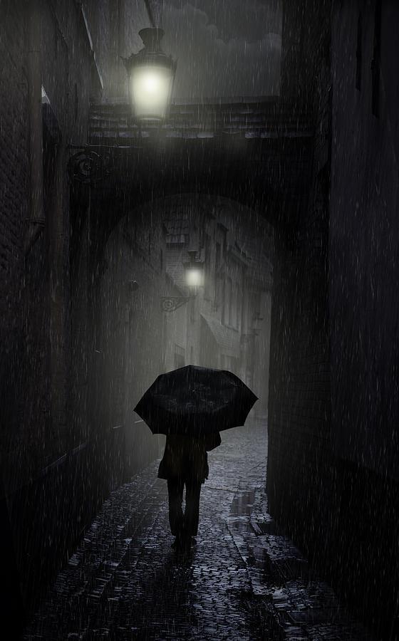 Street Photograph - Night Walk In The Rain by Jaroslaw Blaminsky