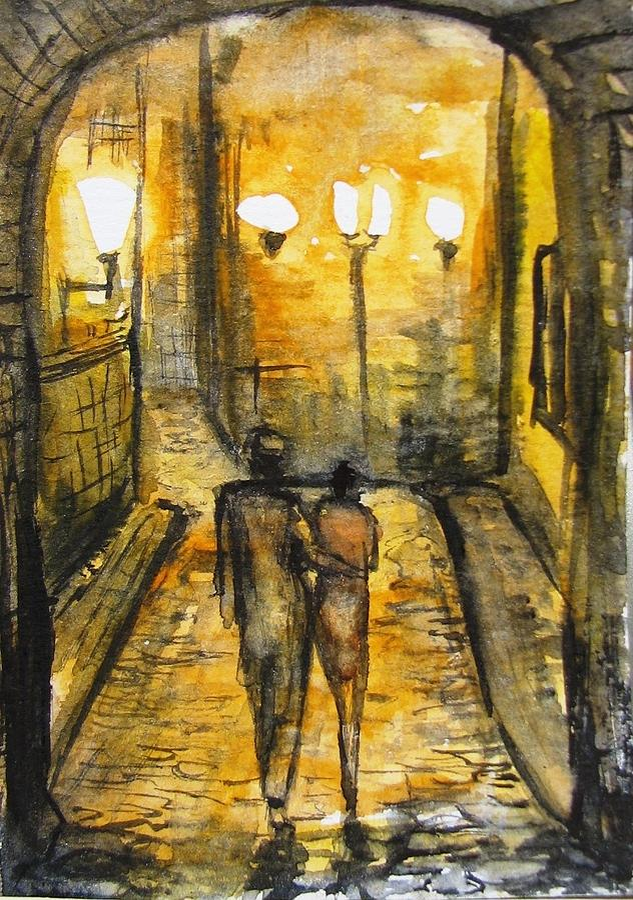 Landscape Painting - Night walk together by Natalja Picugina