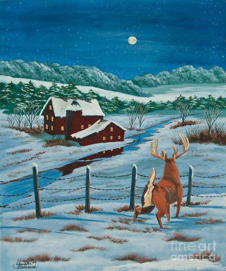 Deer Painting - Night Watch by Charlotte Blanchard