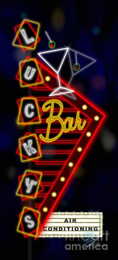Nightclub Mixed Media - Nightclub Sign Luckys Bar by Shari Warren