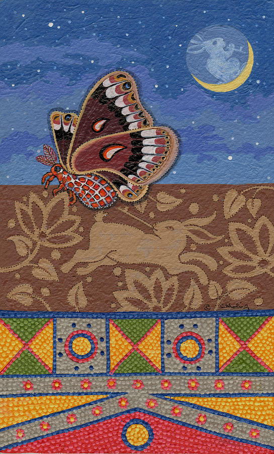Silk Moth Painting - Nightime - Tipiskaw, Cree by Chholing Taha