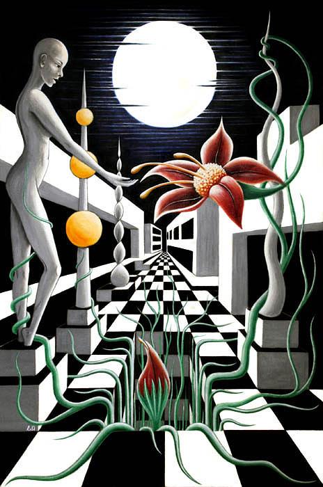 Fantasy Painting - Nightlife by Erla Alberts