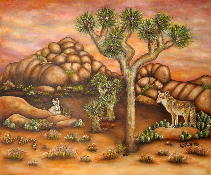 Desert Landscape Painting - Nightlife In Joshua Tree by Kathy Shute