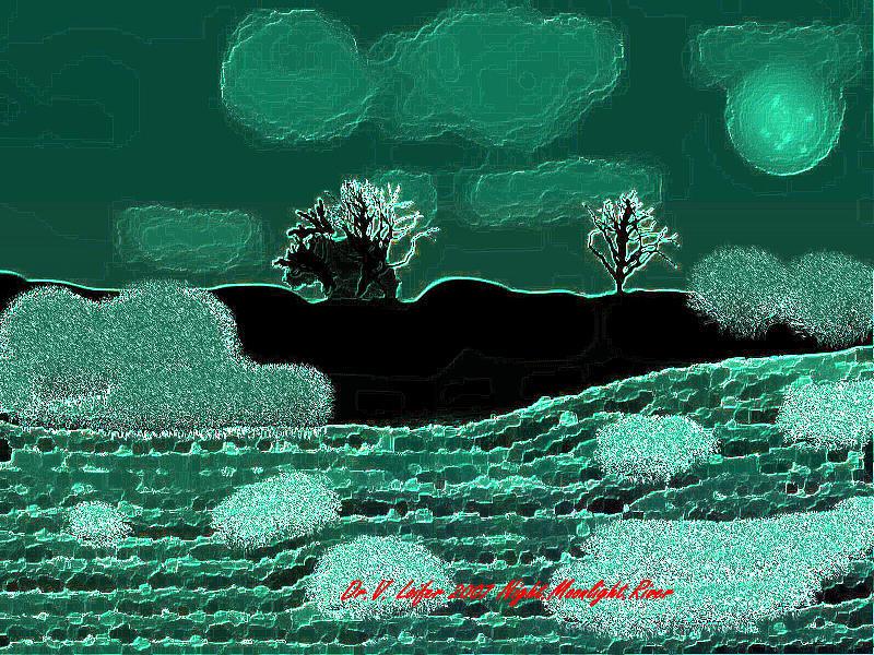 Landscape Digital Art - Night.moonlight.river by Dr Loifer Vladimir