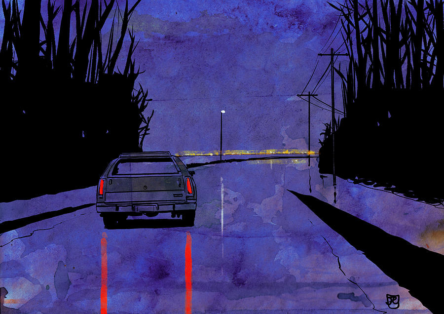 Giuseppe Cristiano Drawing - Nightscape 02 by Giuseppe Cristiano