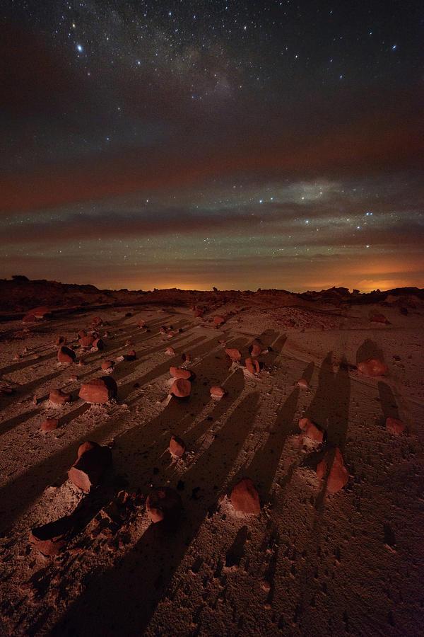 Nightscape Shadows On Planet Mars Photograph