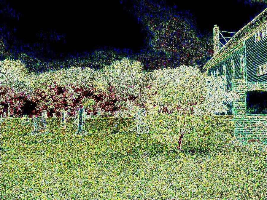 Church Photograph - Nighttime In The Church Graveyard by Curtis Tilleraas