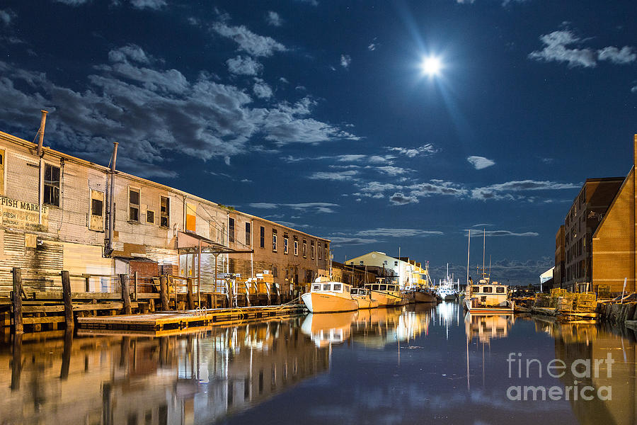 Clouds Photograph - Nighttime on the Old Port Waterfront by Benjamin Williamson