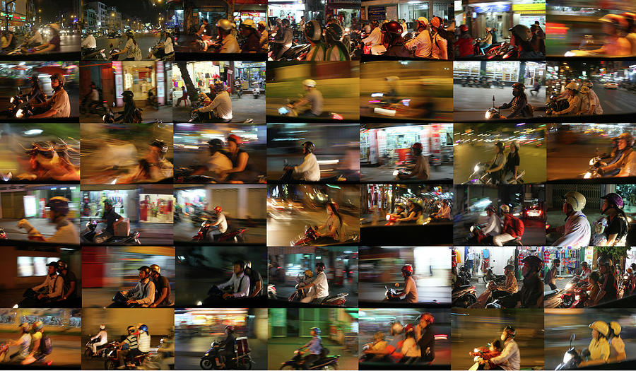 Vietnam Photograph - Nighttime Scooters, Hanoi by Stephen Farley