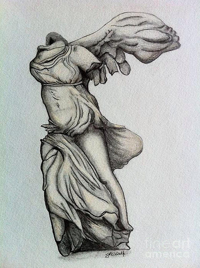 Nike Of Samothrace Drawing - Nike Of Samothrace by Shane Whitlock