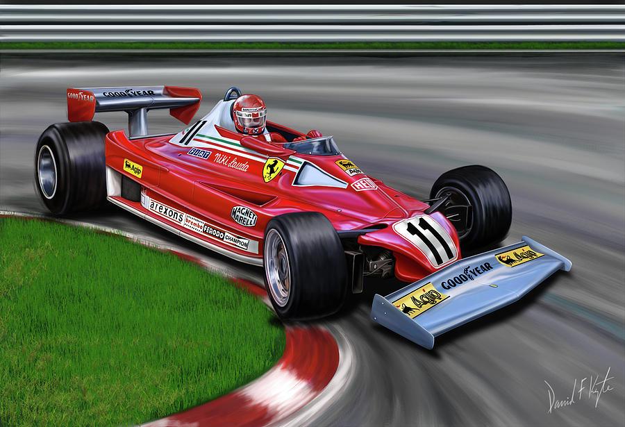 Niki Lauda Digital Art - Niki Lauda F-1 Ferrari by David Kyte
