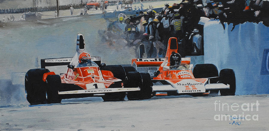 Niki Lauda Vs James Hunt Painting by Artem Oleynik