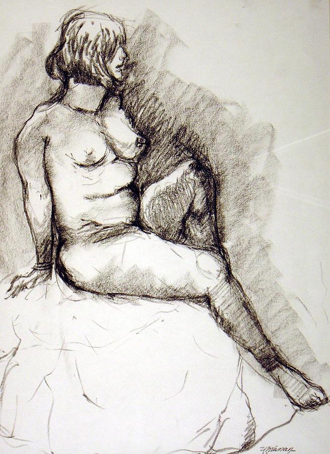 Figure Drawing Drawing - Nikki by Ujjagar Singh Wassan